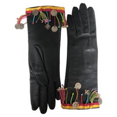 John Galliano Embellished Leather Gloves NWT.