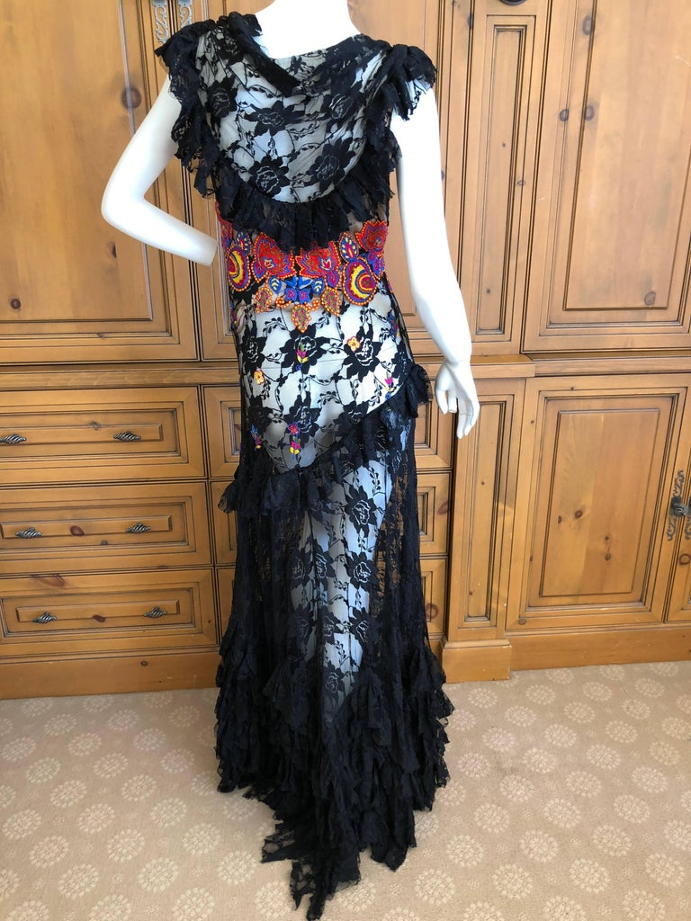 John Galliano Extravagant Embroidered Ruffled Lace Flamenco Evening Dress  For Sale 5