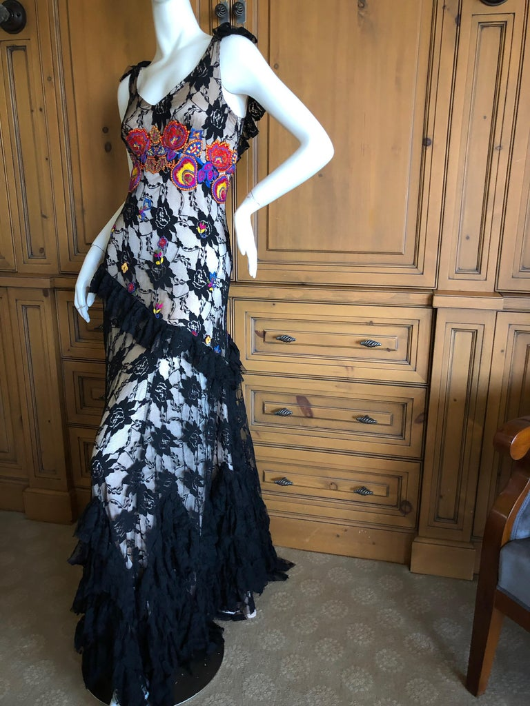 John Galliano Extravagant Embroidered Ruffled Lace Flamenco Evening Dress  For Sale 6
