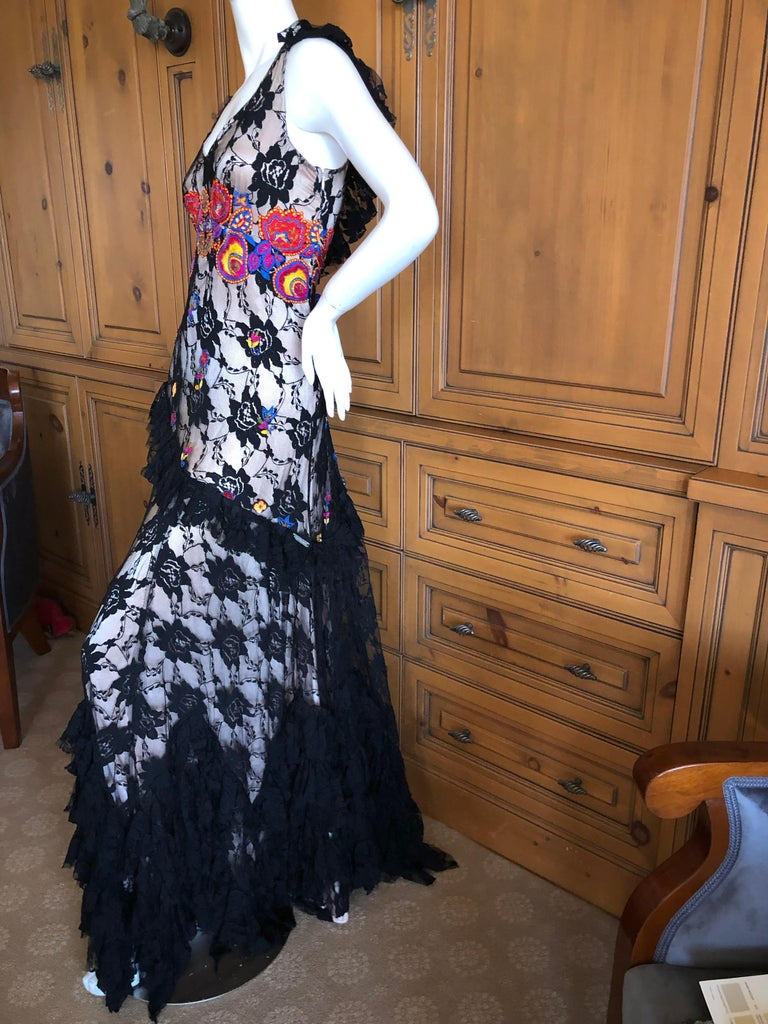 John Galliano Extravagant Embroidered Ruffled Lace Flamenco Evening Dress  For Sale 7
