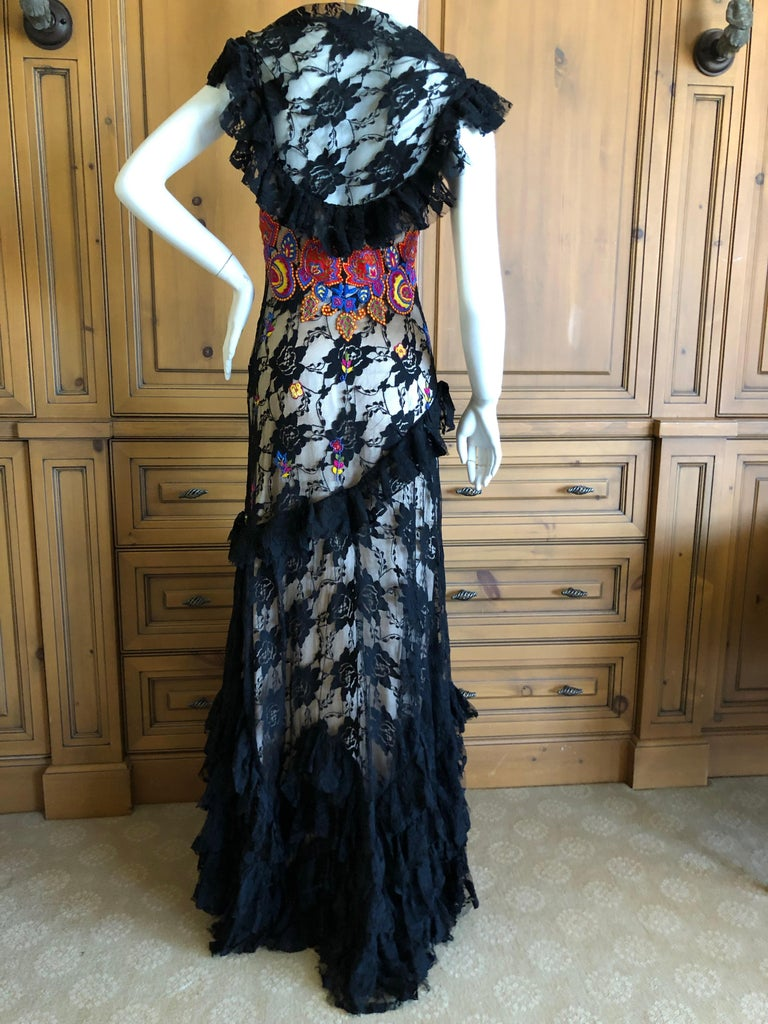 John Galliano Extravagant Embroidered Ruffled Lace Flamenco Evening Dress  For Sale 8