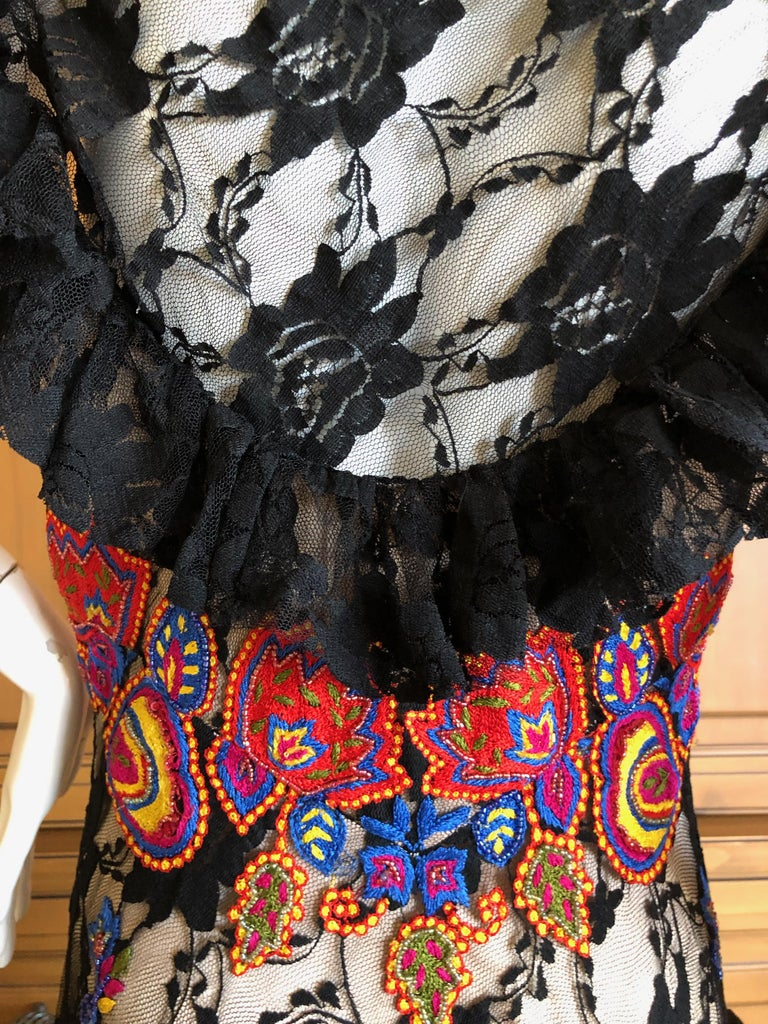 John Galliano Extravagant Embroidered Ruffled Lace Flamenco Evening Dress  For Sale 9