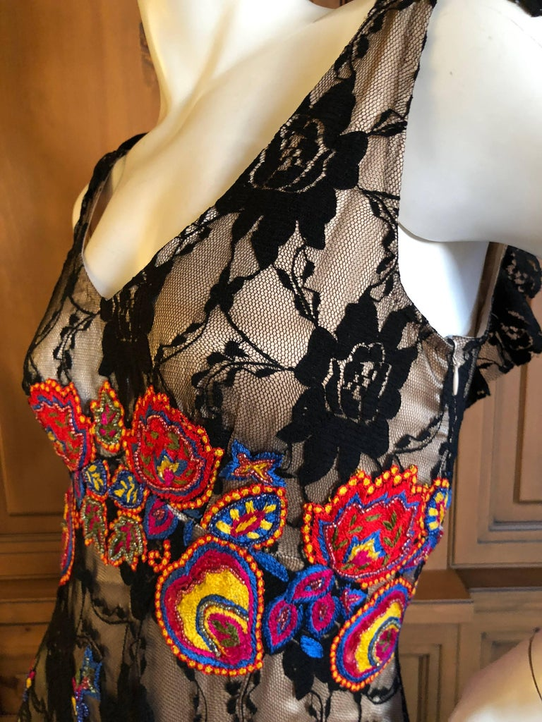 John Galliano Extravagant Embroidered Ruffled Lace Flamenco Evening Dress  For Sale 2