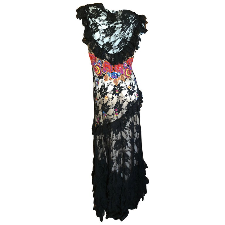 John Galliano Extravagant Embroidered Ruffled Lace Flamenco Evening Dress  For Sale