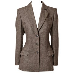 John Galliano Fitted Blazer with Back Bustle Detail