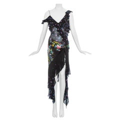 John Galliano floral silk chiffon fringed 'Russian-Tray' dress, ss 1997
