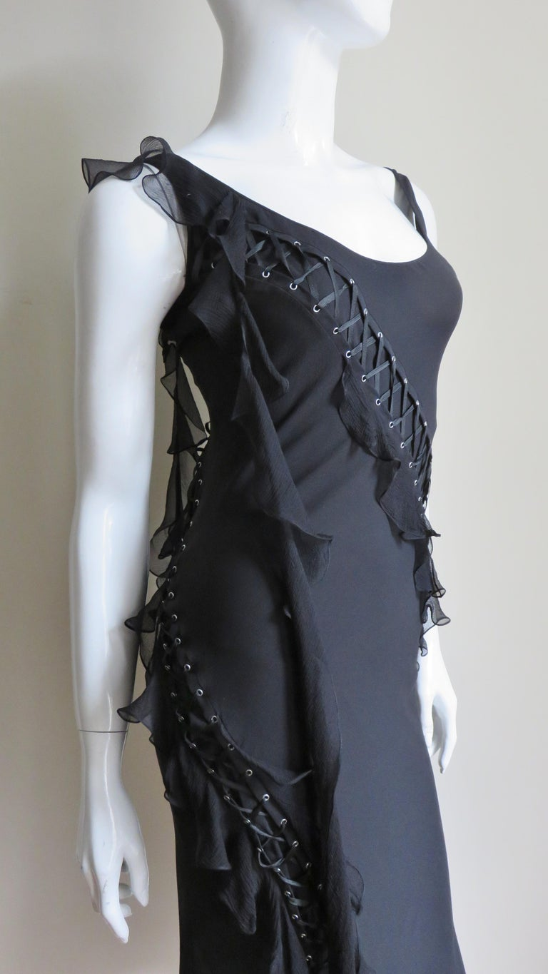 John Galliano for Christian Dior Lace-up Silk Dress For Sale 5