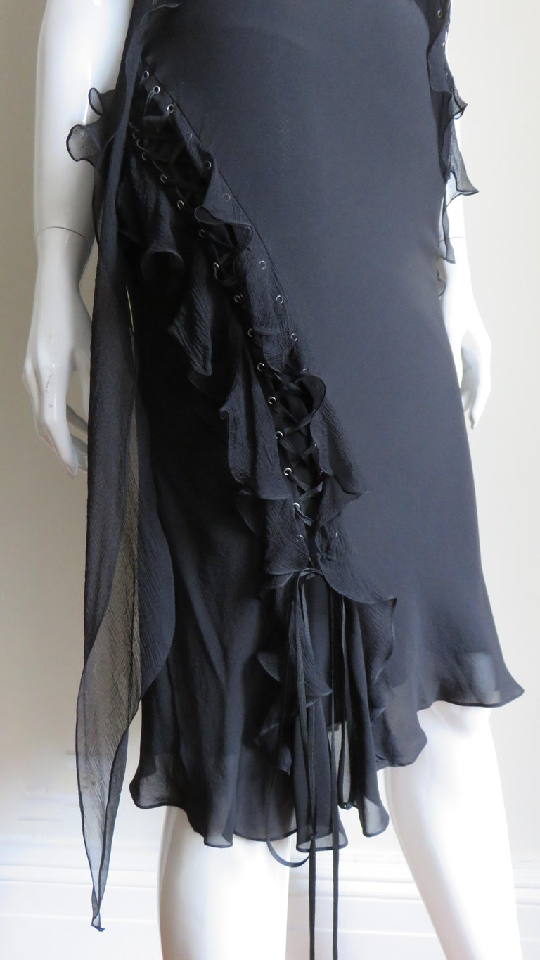 John Galliano for Christian Dior Lace-up Silk Dress For Sale 6