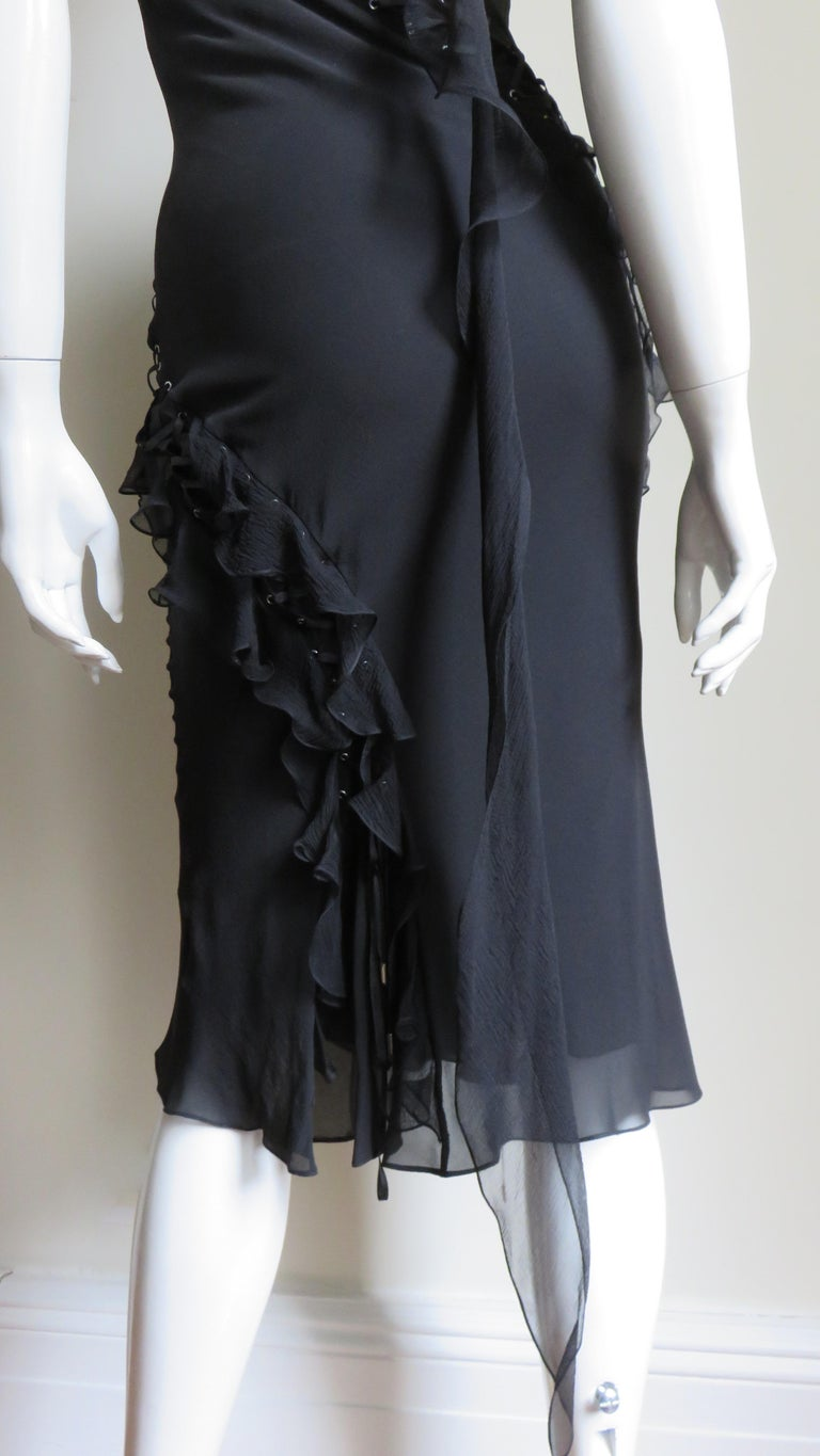 John Galliano for Christian Dior Lace-up Silk Dress For Sale 11