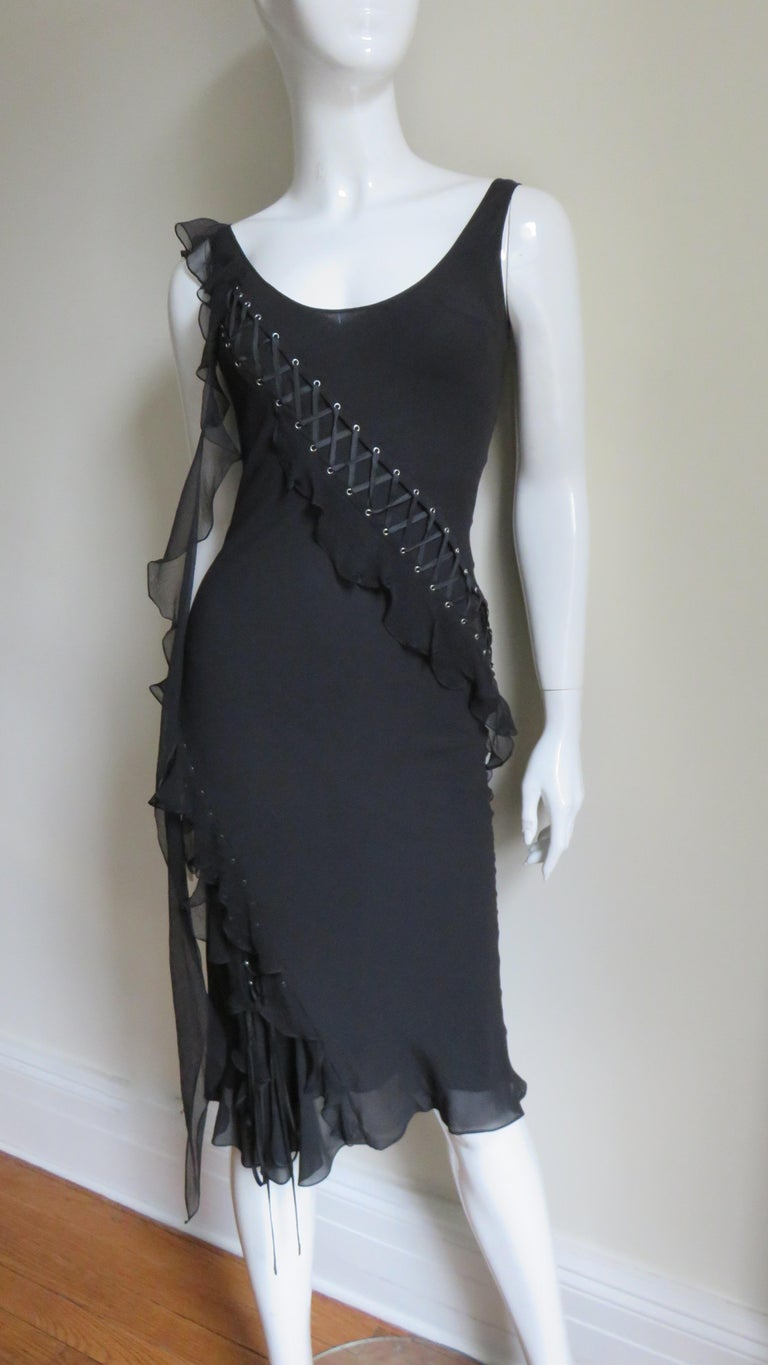 Black John Galliano for Christian Dior Lace-up Silk Dress For Sale