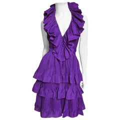John Galliano for Christian Dior 2009 Plunge Silk Ruffle Halter Dress