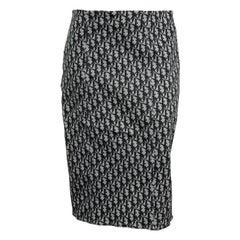 John Galliano for Christian Dior Black Trotter logo Skirt