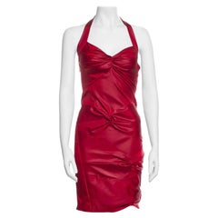 John Galliano for Christian Dior Burgundy Red Halter Body Con Cocktail Dress