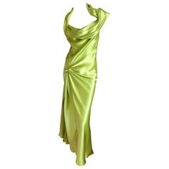 John Galliano for Christian Dior Chartreuse Silk Gown