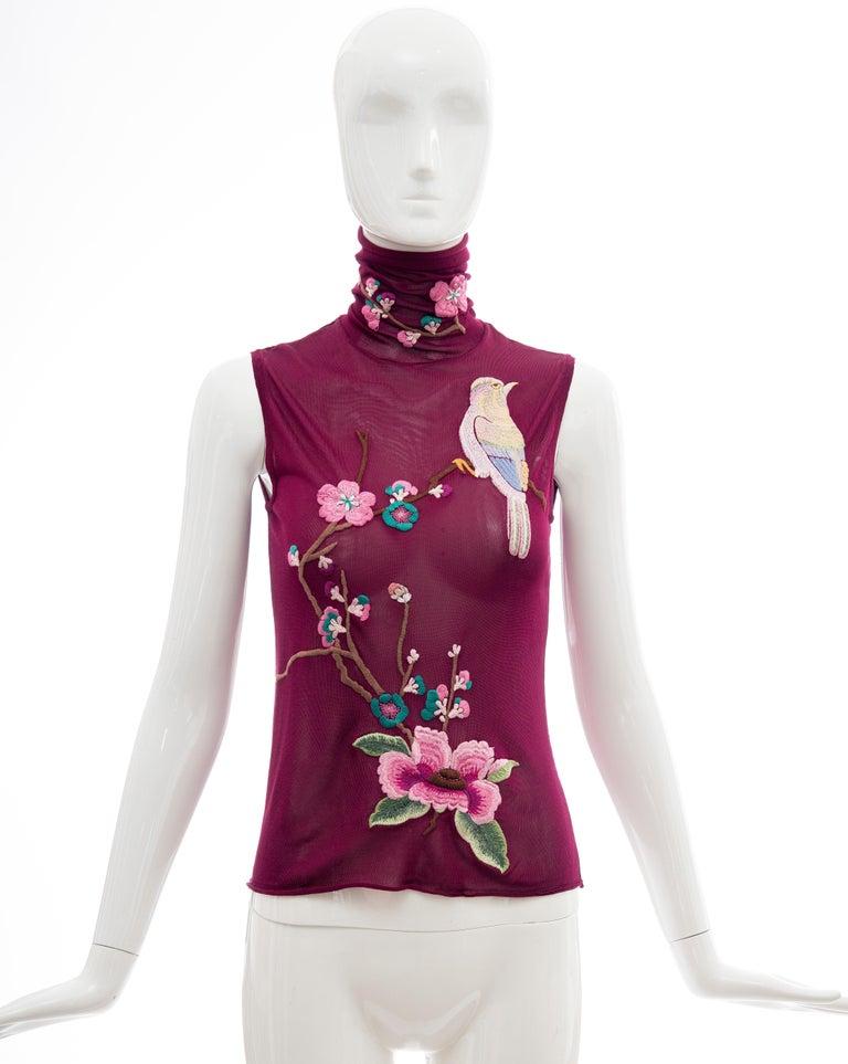 John Galliano for Christian Dior, Fall 2003, embroidered viscose cotton sleeveless back button closure, mock top.  FR. 38, US.   Bust: 29, Waist: 28, Length: 22  Fabric: 100% Viscose; Combo 76% Viscose, 24% Cotton
