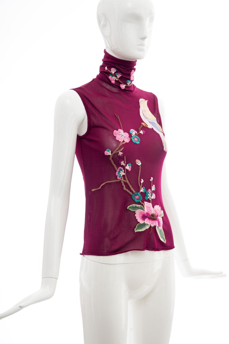 Purple John Galliano for Christian Dior Embroidered Sleeveless Top, Fall 2003 For Sale