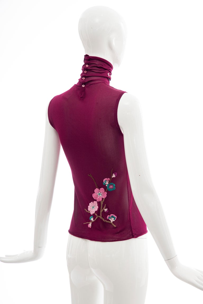 Women's or Men's John Galliano for Christian Dior Embroidered Sleeveless Top, Fall 2003 For Sale