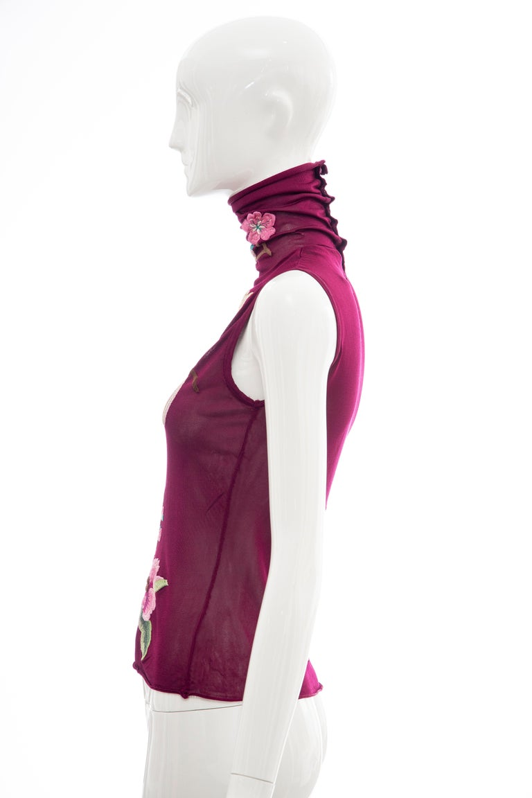 John Galliano for Christian Dior Embroidered Sleeveless Top, Fall 2003 For Sale 3