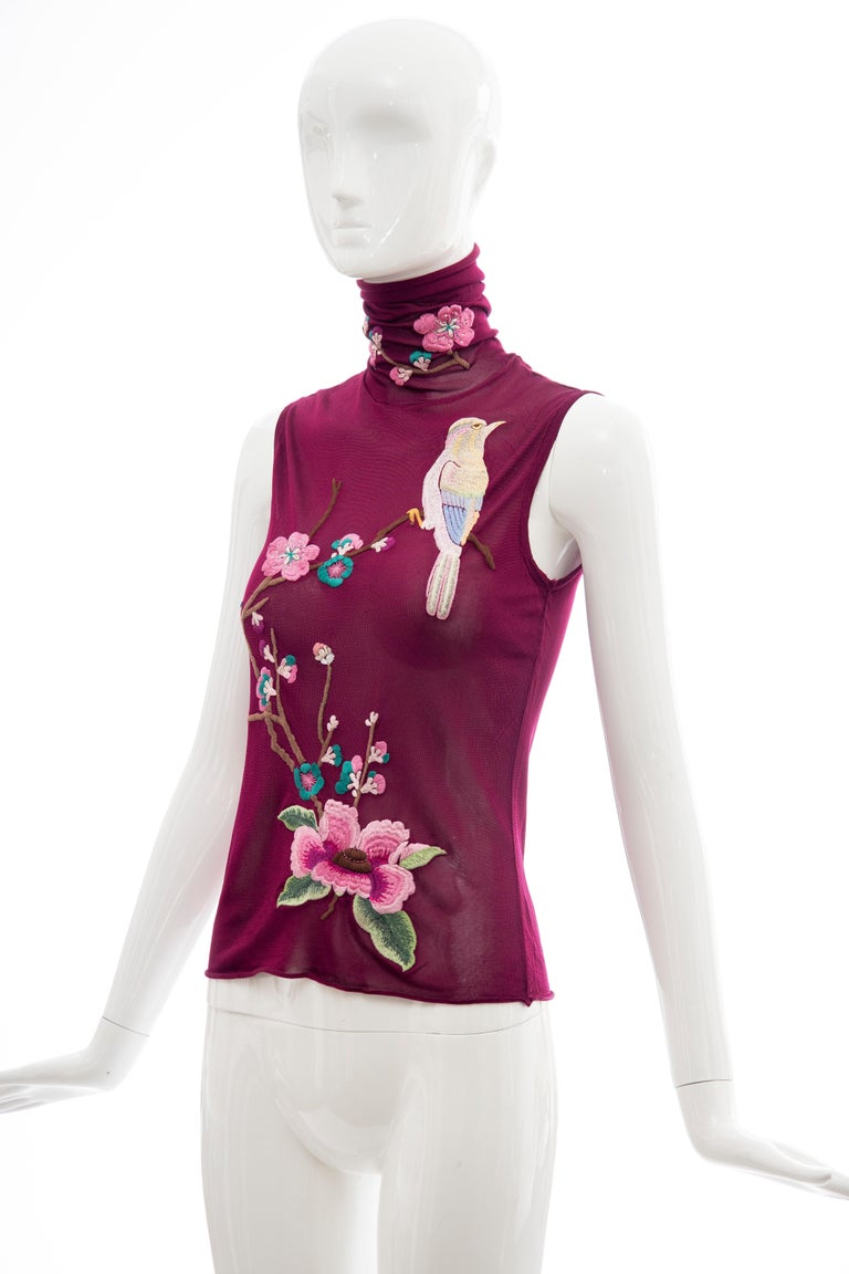John Galliano for Christian Dior Embroidered Sleeveless Top, Fall 2003 For Sale 4