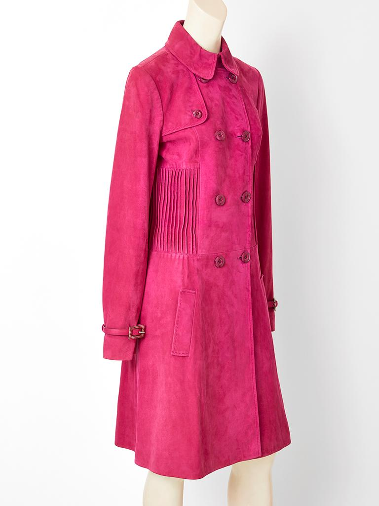 John Galliano for Dior, fuchsia double breasted, slim line, suede, coat, having a small pointed collar, and tiny stitched