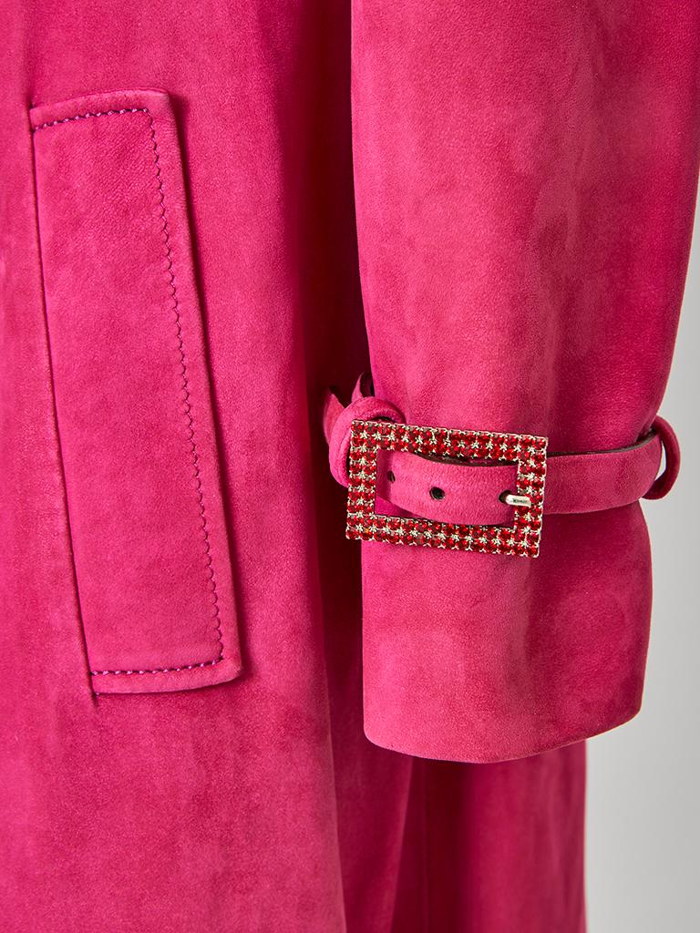 Red John Galliano for Christian Dior Fuchsia Double Breasted Suede Coat For Sale