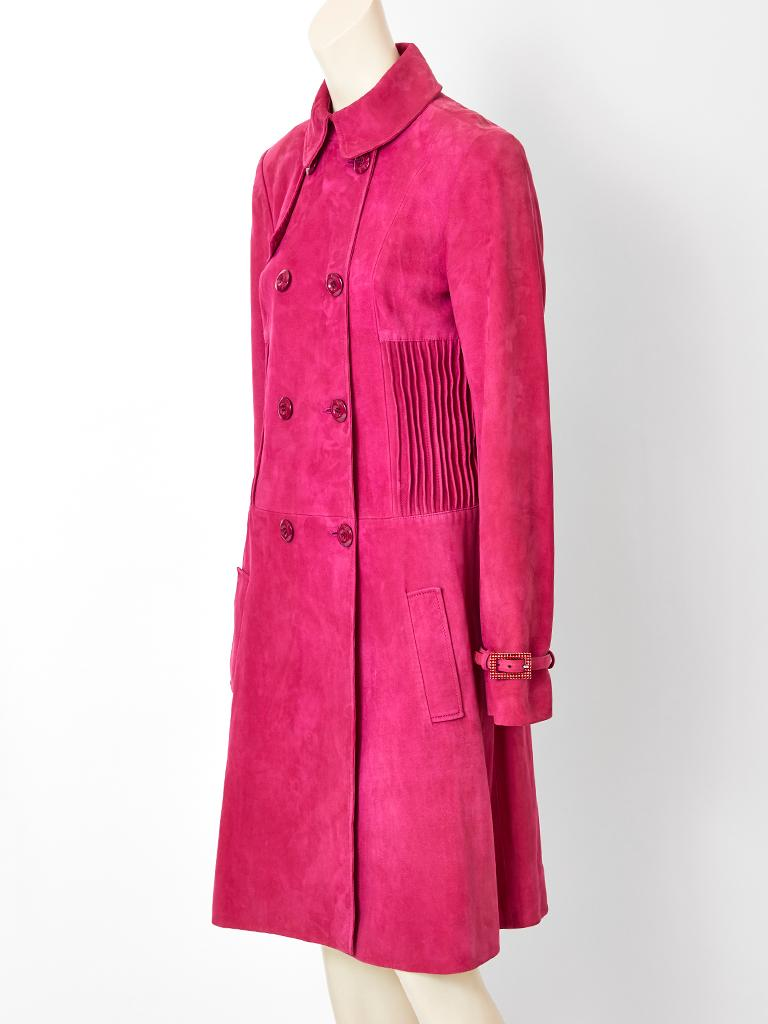 John Galliano for Christian Dior Fuchsia Double Breasted Suede Coat In Good Condition For Sale In New York, NY