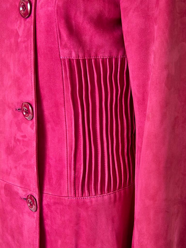 Women's John Galliano for Christian Dior Fuchsia Double Breasted Suede Coat For Sale
