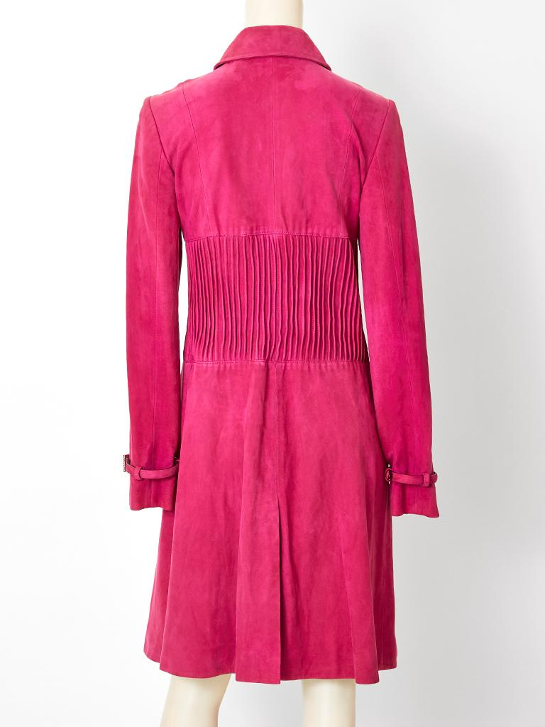 John Galliano for Christian Dior Fuchsia Double Breasted Suede Coat For Sale 1