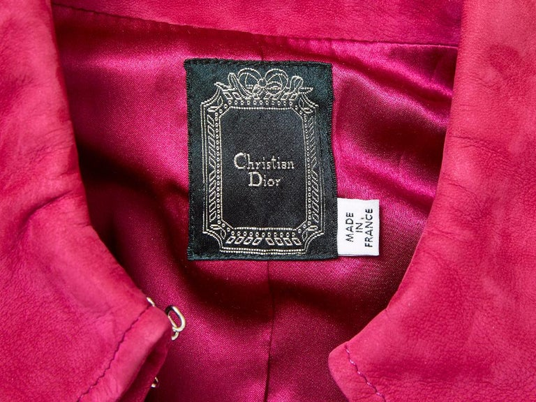 John Galliano for Christian Dior Fuchsia Double Breasted Suede Coat For Sale 2