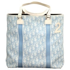 "John Galliano for Christian Dior Light Blue Logo Tote Bag with ""2"""