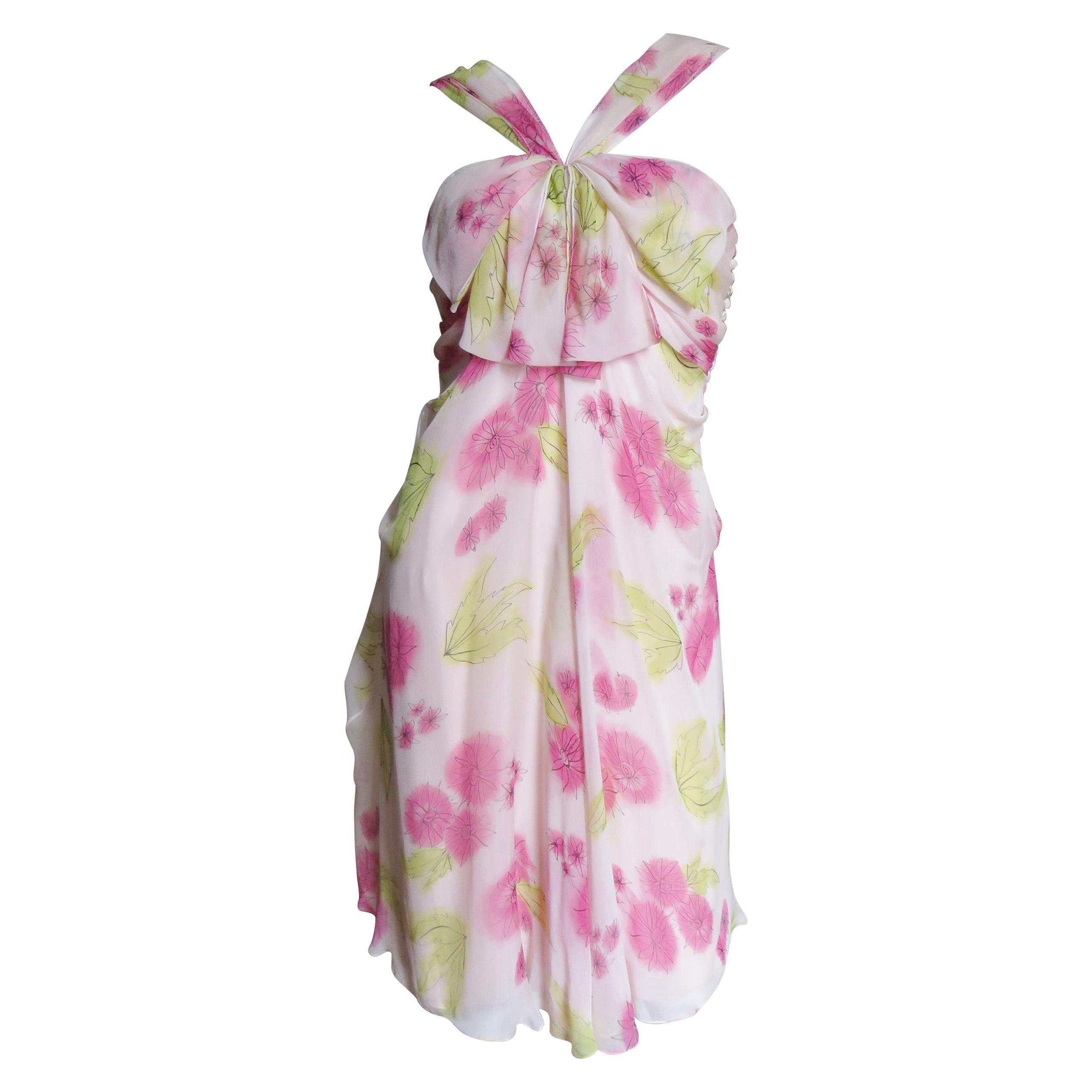 John Galliano for Christian Dior Pink Silk Flower Dress