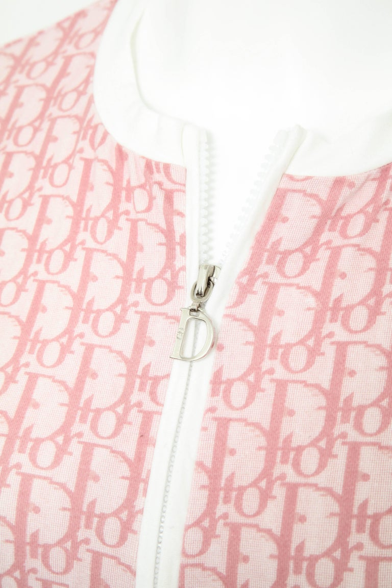 Very rare John Galliano for Christian Dior pink trotter logo sweater. French size 42