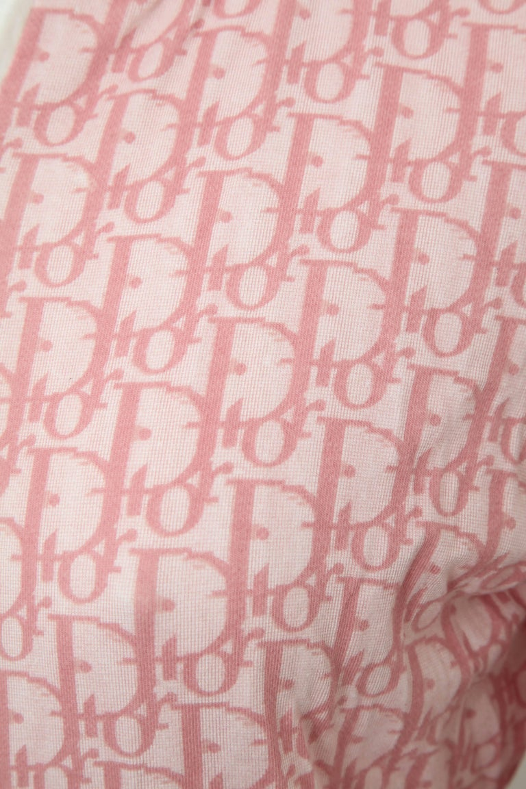 John Galliano for Christian Dior Pink Trotter Logo Sweater In Good Condition In Chicago, IL