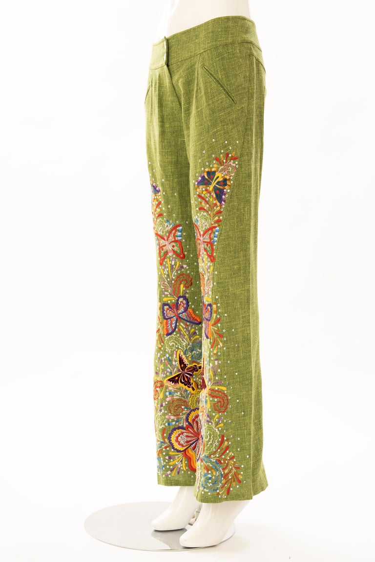 John Galliano for Christian Dior Runway Embroidered Linen Pants, Spring 2002 For Sale 5