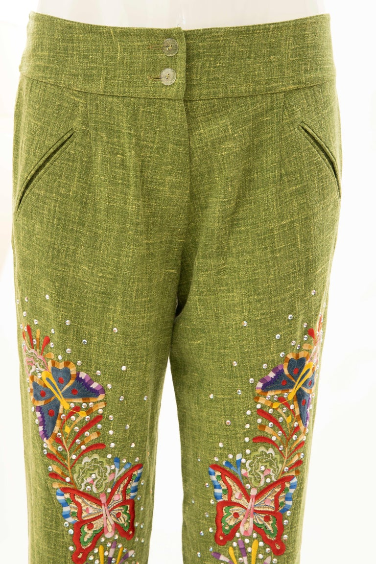 John Galliano for Christian Dior Runway Embroidered Linen Pants, Spring 2002 For Sale 6