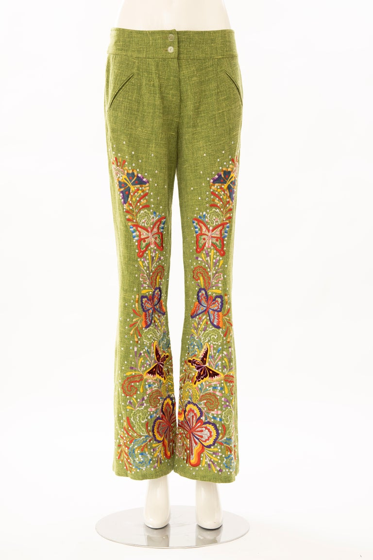 John Galliano for Christian Dior Runway Spring 2002 embroidered flared linen pants with diamante details throughout, dual front welt pockets and concealed front zip closure.  According to Willy Lima, the director of couture development for Christian