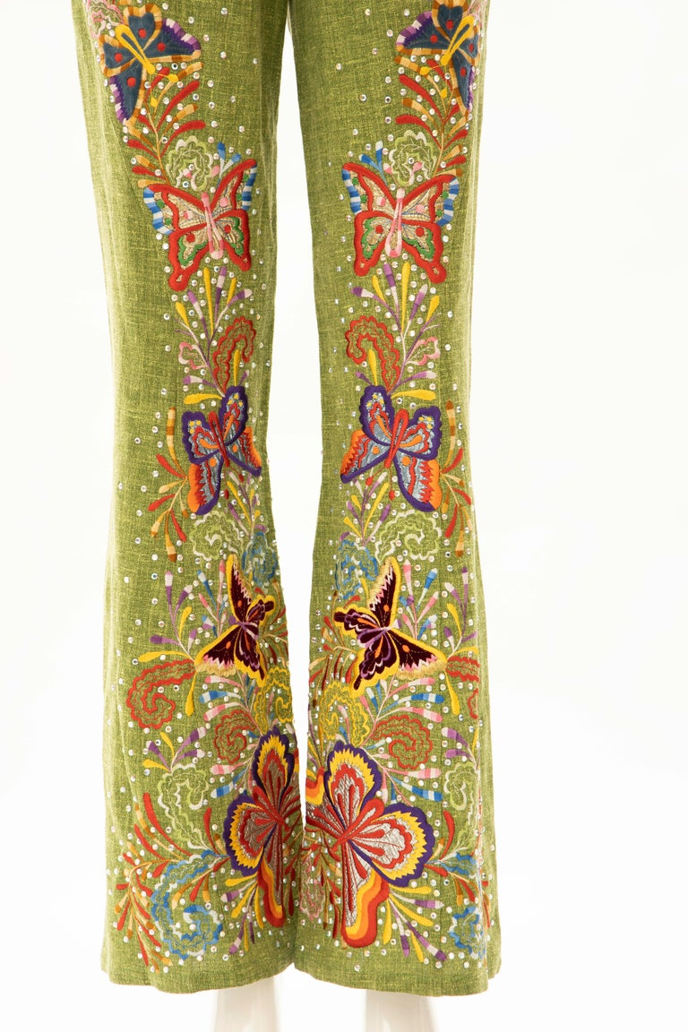Brown John Galliano for Christian Dior Runway Embroidered Linen Pants, Spring 2002 For Sale