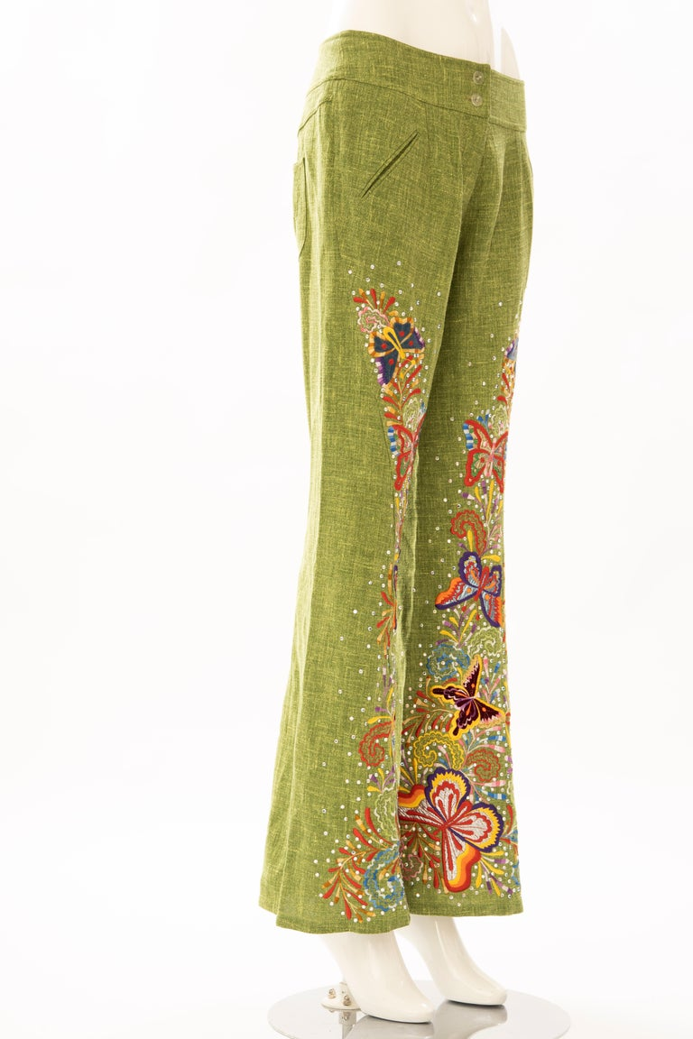 John Galliano for Christian Dior Runway Embroidered Linen Pants, Spring 2002 In Excellent Condition For Sale In Cincinnati, OH