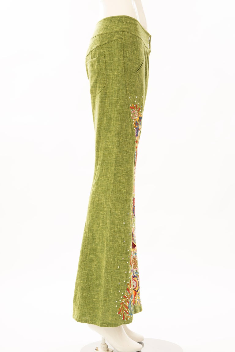 Women's John Galliano for Christian Dior Runway Embroidered Linen Pants, Spring 2002 For Sale