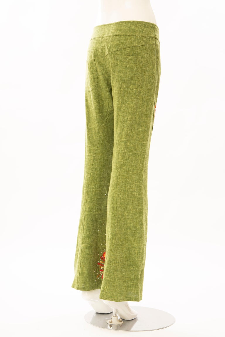 John Galliano for Christian Dior Runway Embroidered Linen Pants, Spring 2002 For Sale 1