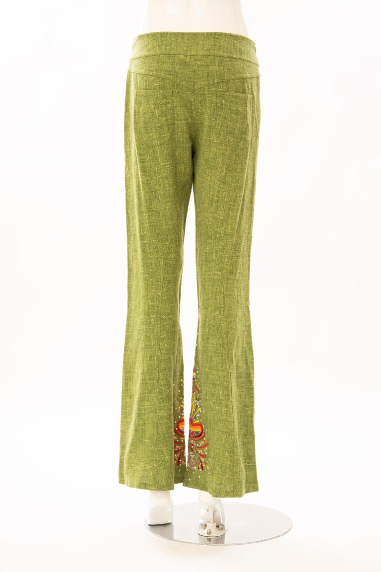 John Galliano for Christian Dior Runway Embroidered Linen Pants, Spring 2002 For Sale 2