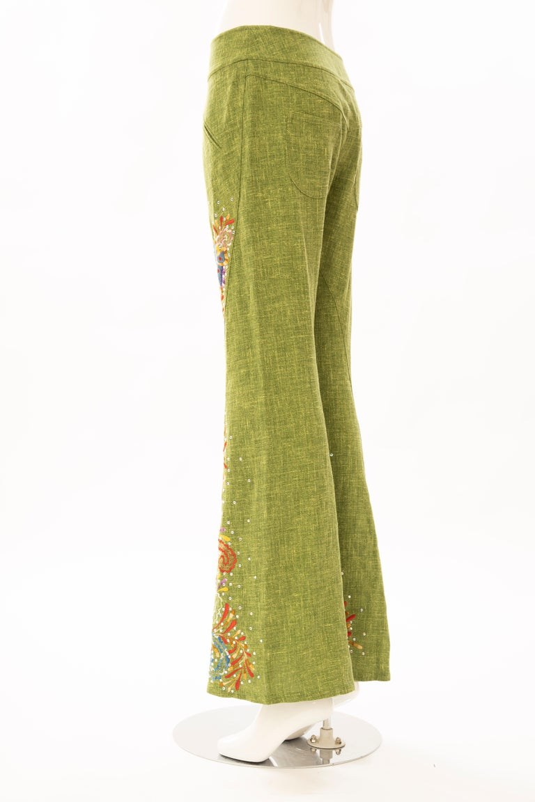 John Galliano for Christian Dior Runway Embroidered Linen Pants, Spring 2002 For Sale 3