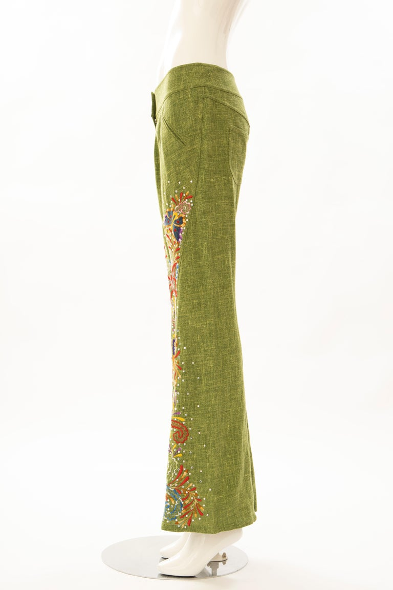 John Galliano for Christian Dior Runway Embroidered Linen Pants, Spring 2002 For Sale 4