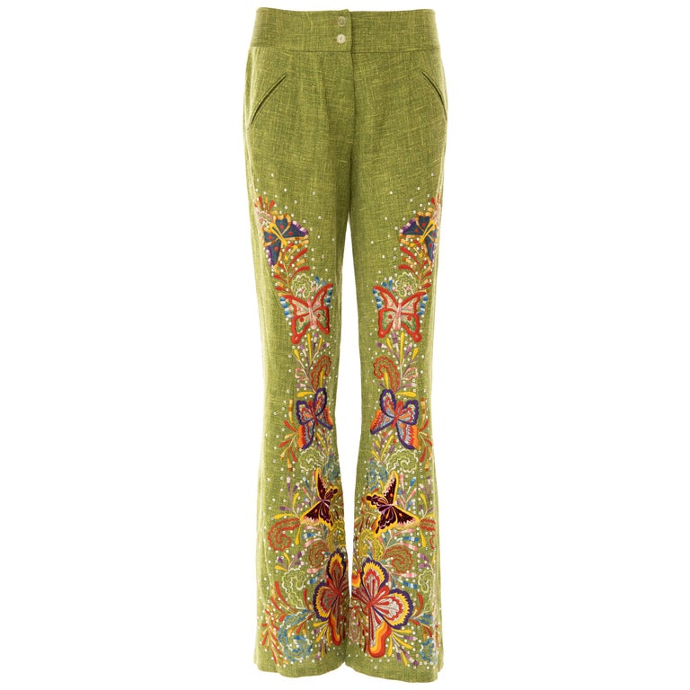 John Galliano for Christian Dior Runway Embroidered Linen Pants, Spring 2002 For Sale