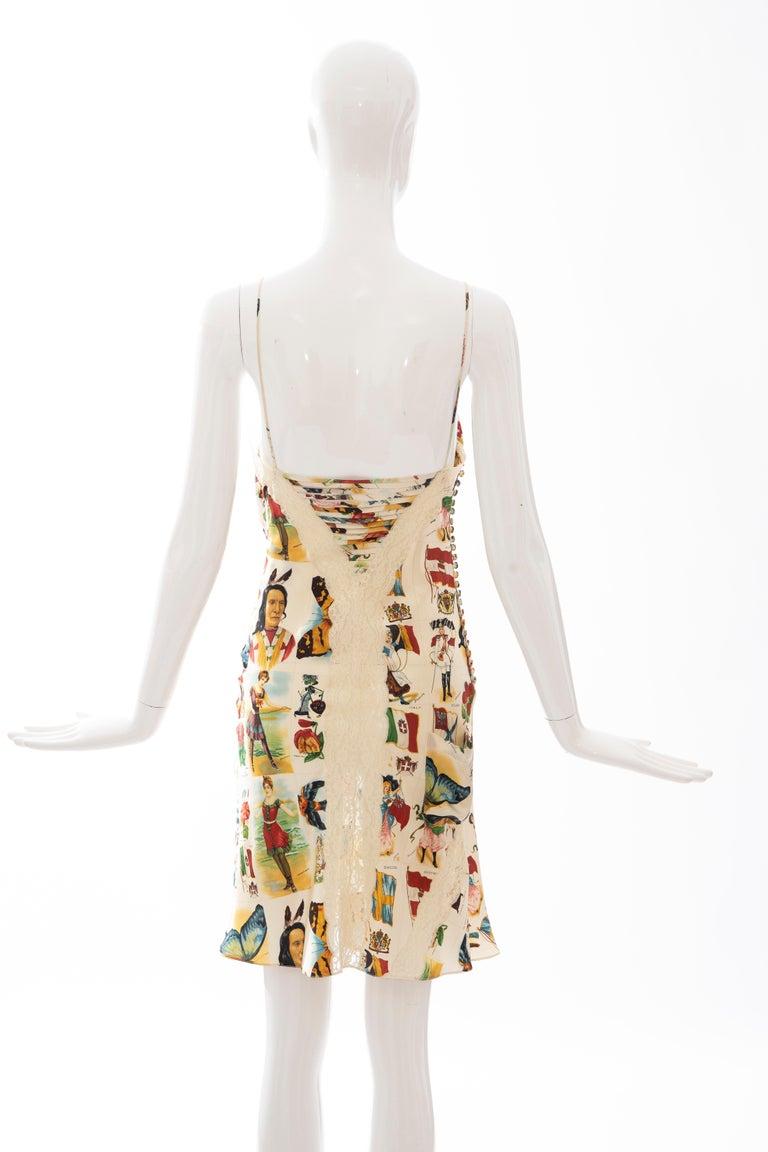 John Galliano for Christian Dior Runway Printed Silk & Lace Dress, Spring 2002 5