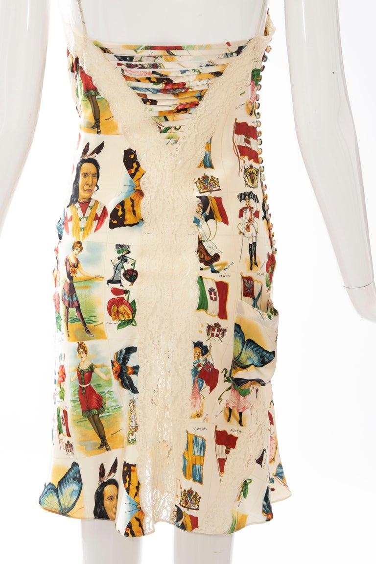 John Galliano for Christian Dior Runway Printed Silk & Lace Dress, Spring 2002 6