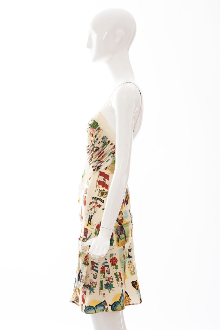 John Galliano for Christian Dior Runway Printed Silk & Lace Dress, Spring 2002 8