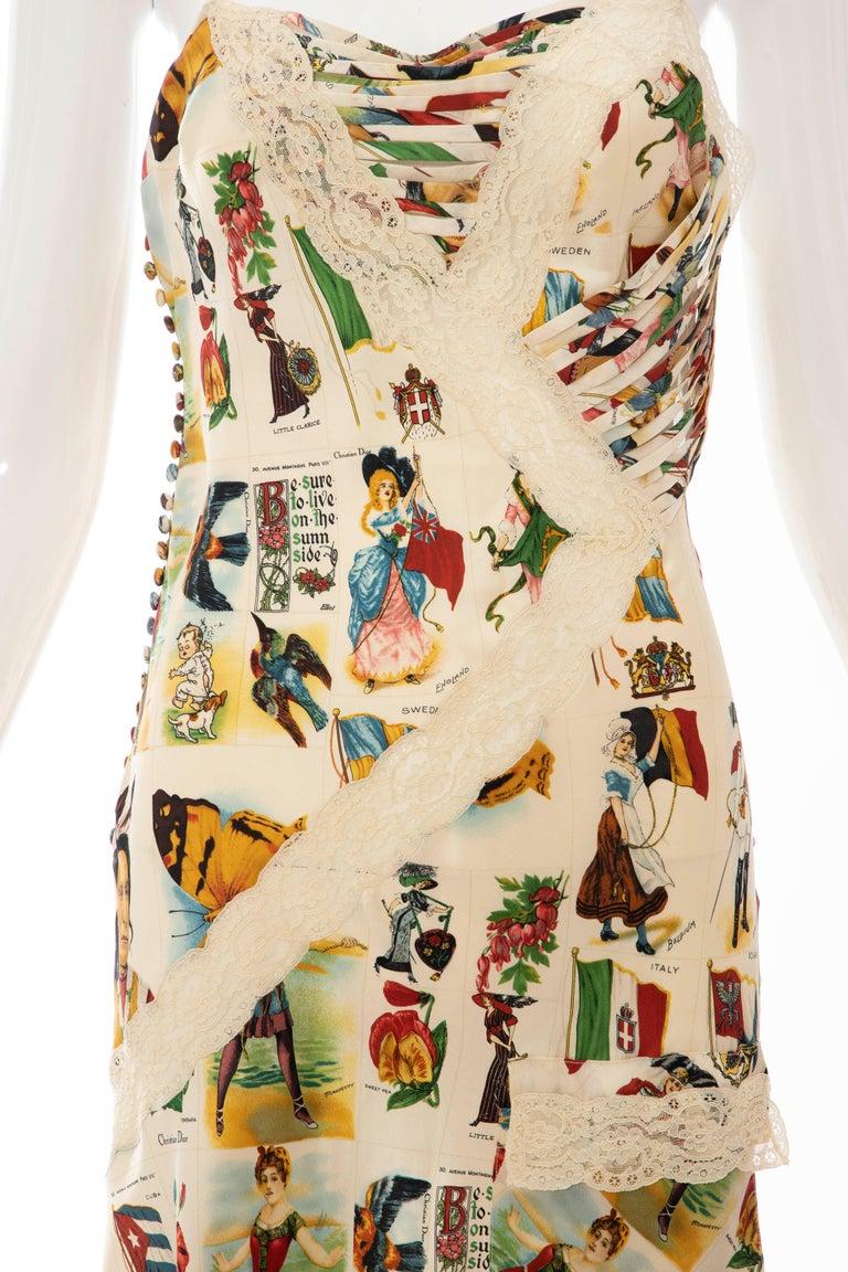 Beige John Galliano for Christian Dior Runway Printed Silk & Lace Dress, Spring 2002