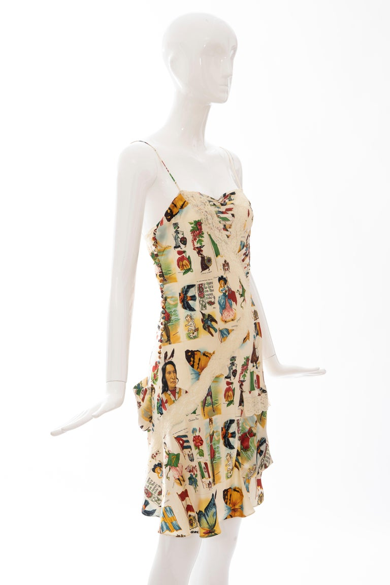 John Galliano for Christian Dior Runway Printed Silk & Lace Dress, Spring 2002 In Excellent Condition In Cincinnati, OH