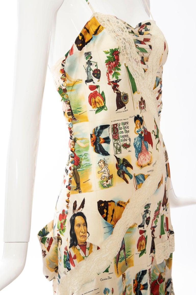 Women's John Galliano for Christian Dior Runway Printed Silk & Lace Dress, Spring 2002